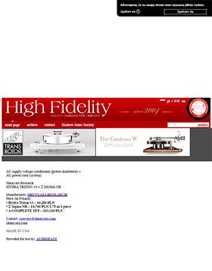 High Fidelity Issue 162 - Review Of Shunyata Hydra Triton v3 & Sigma NR Power Cable