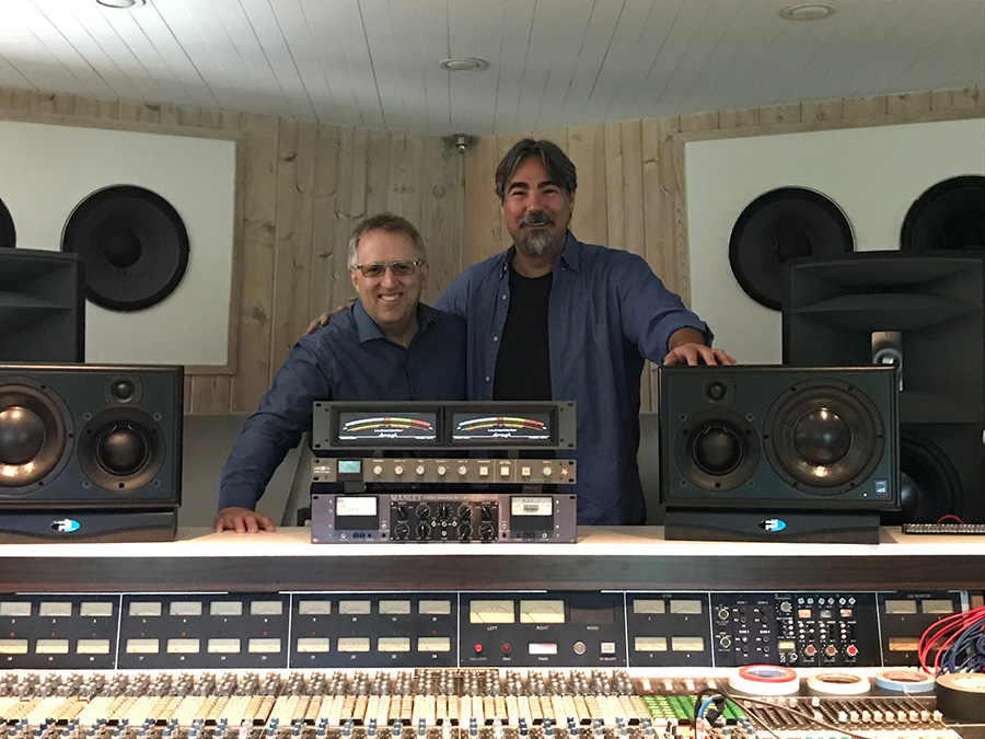 Grant Samuelson and Mastering Engineer Eric Lynne at Rick Rubin's studio